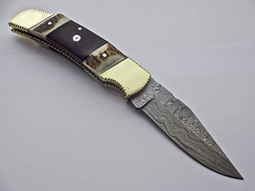 DR-2571 Custom made damascus blade, damascus Bolster , one of a Clasicle hunting knife