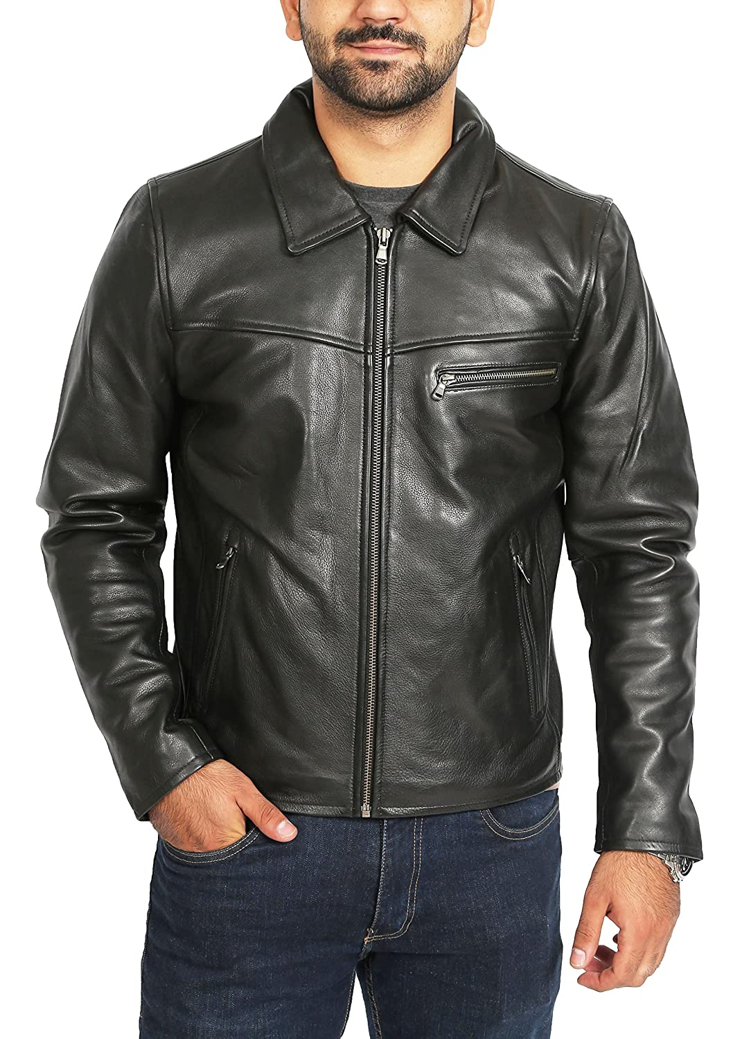 Mens Real Leather Jacket Black Heavy Duty Full Grain Zip Box Classic Coat Clint House Of Leather