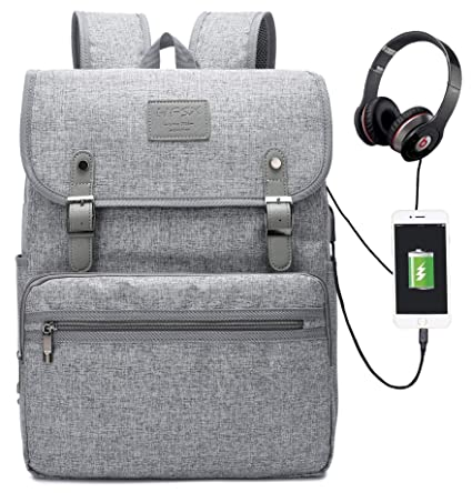 6771c4faa4c9 Laptop Backpack Men Women Business Travel Computer Backpack School College  Bookbag Stylish Water Resistant Vintage Backpack with USB Port Fashion Grey  ...