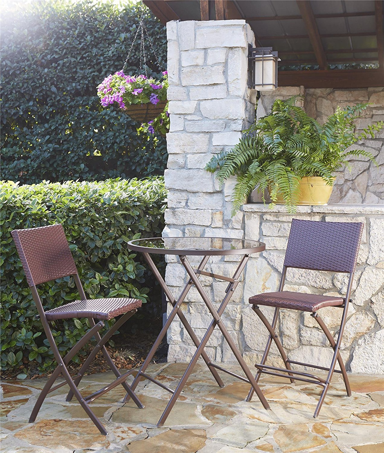 Cosco Outdoor High Top Bistro Set, Folding, 3 Piece, Steel Frame with Dark Brown and Red Wicker