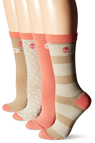 Timberland Women's Crew Boot Sock 4-Pack, Assorted Pink, One Size