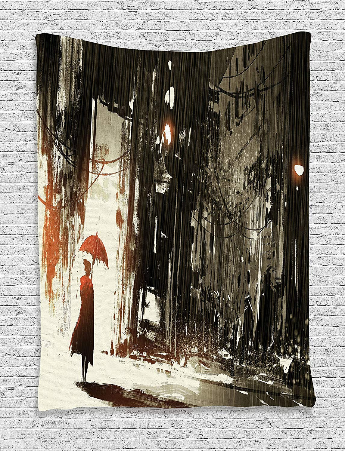 THndjsh Fantasy Tapestry, Woman with Umbrella in Rain Old Town Ruins Apocalypse Superhero Action Desgin, Wall Hanging for Bedroom Living Room Dorm, 40 W X 60 L Inches, Army Green Beige