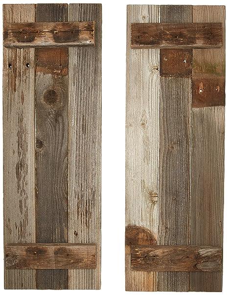 Amazon.com: Juego de 2 persianas decorativas de madera ...