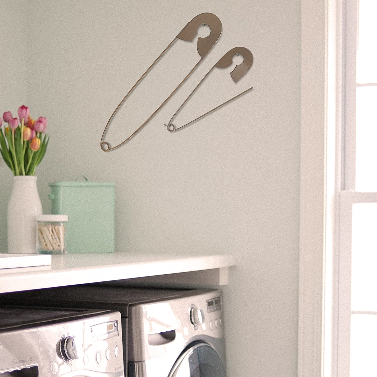 Set Of 2 Large Hanging Safety Pins Rustic Color Laundry Room Wall Home Decoration Amazon In Office Products