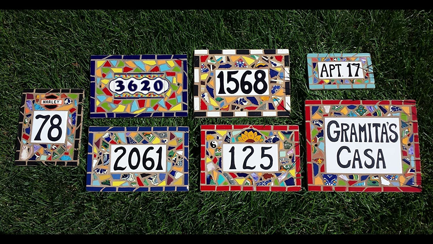 Amazon tile mosaic house number plaque address or name sign amazon tile mosaic house number plaque address or name sign custom hand made garden outdoor dailygadgetfo Image collections