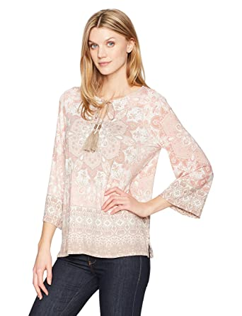 a9957b91270 Amazon.com  Ruby Rd. Women s Petite Split-Neck Intricate Medallion Border Printed  Knit Top  Clothing