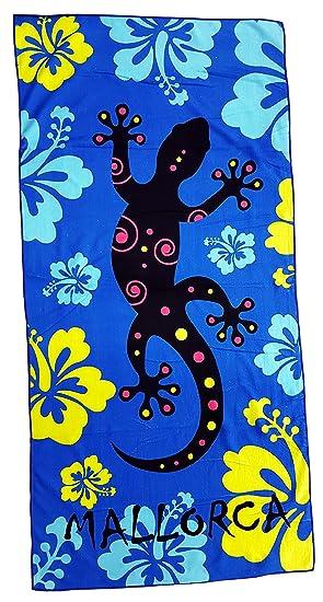 Toalla de playa de 70 x 140 cm, motivo de Mallorca 100 % microfibra de algodón, schwarz pink blau, 140 x 70 cm: Amazon.es: Hogar
