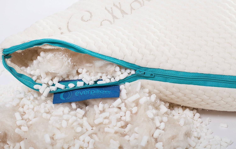 Premium Fully Adjustable Zippered Original Queen Bed Pillow Organic Cotton Cover 100/% Natural Kapok Fill Everpillow by Infinitemoon- Original KAPOK