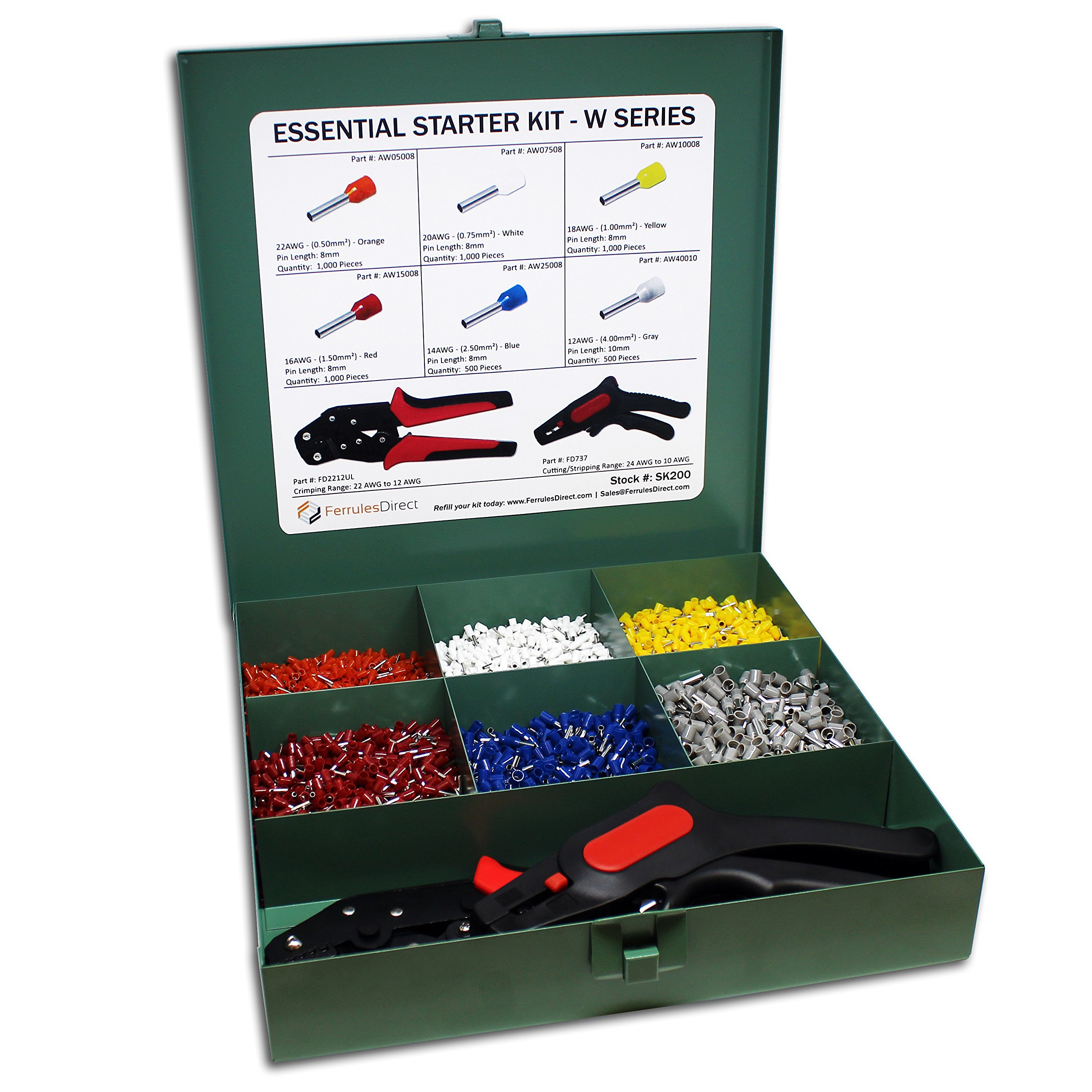 5000 Piece Wire Ferrules Essential Kit with Trapezoidal Profile Crimping Tool and Cutting/Stripping Tool-22 AWG to 12 AWG Insulated Connectors-SK200