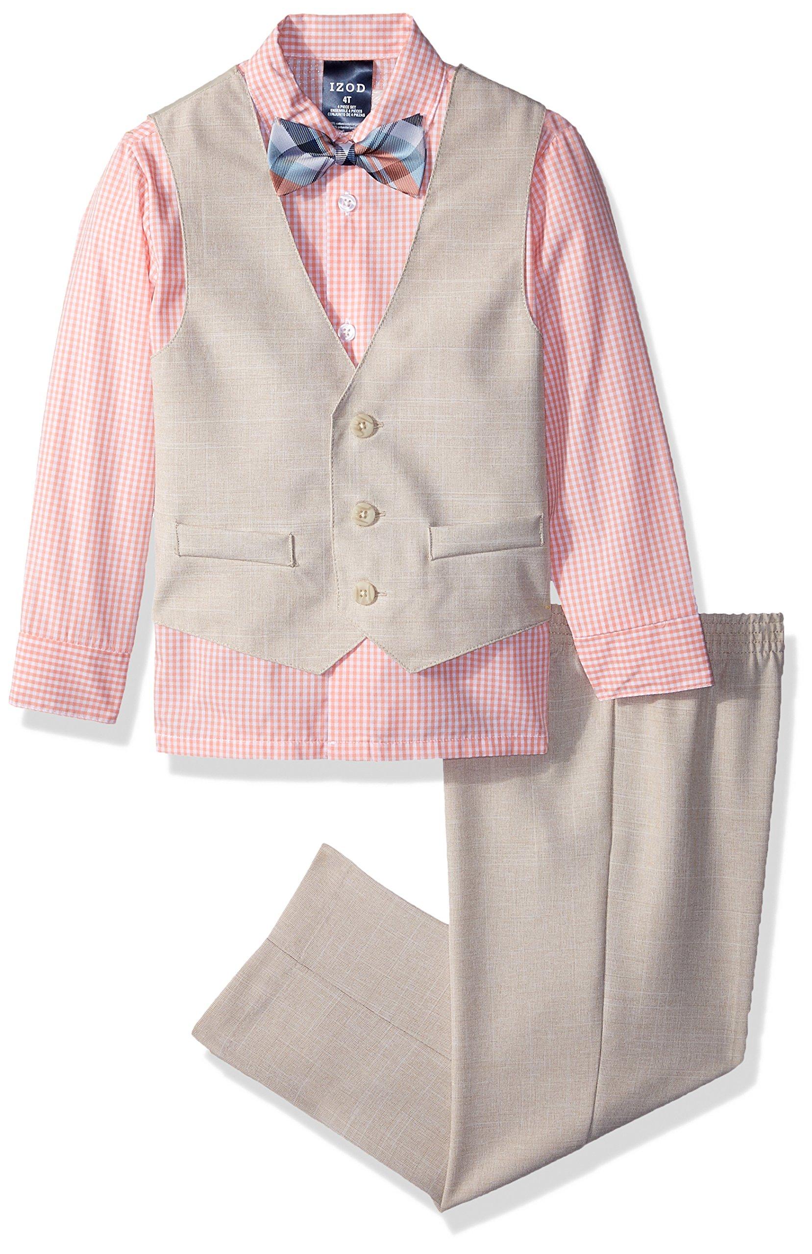 Izod boys 4-Piece Vest Set with Dress Shirt, Bow Tie, Pants, and Vest, Papaya Punch, 3T