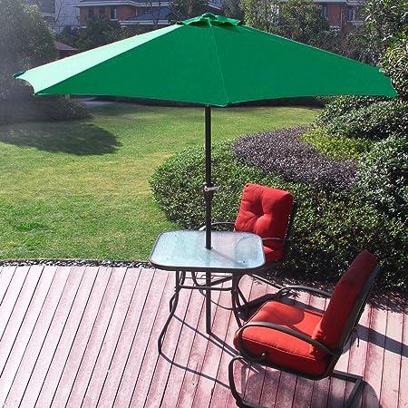 Sol Maya 9 Ft Market Outdoor Aluminum Table Patio Umbrella with Push Button Tilt and Crank Green