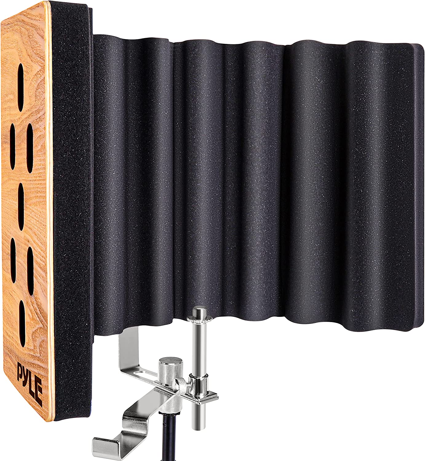 Pyle Wood Microphone Isolation Shield - Sound Isolation Recording Booth, Studio Microphone Vocal Booth Dampening Filter Foam Acoustic Panel w/ 2