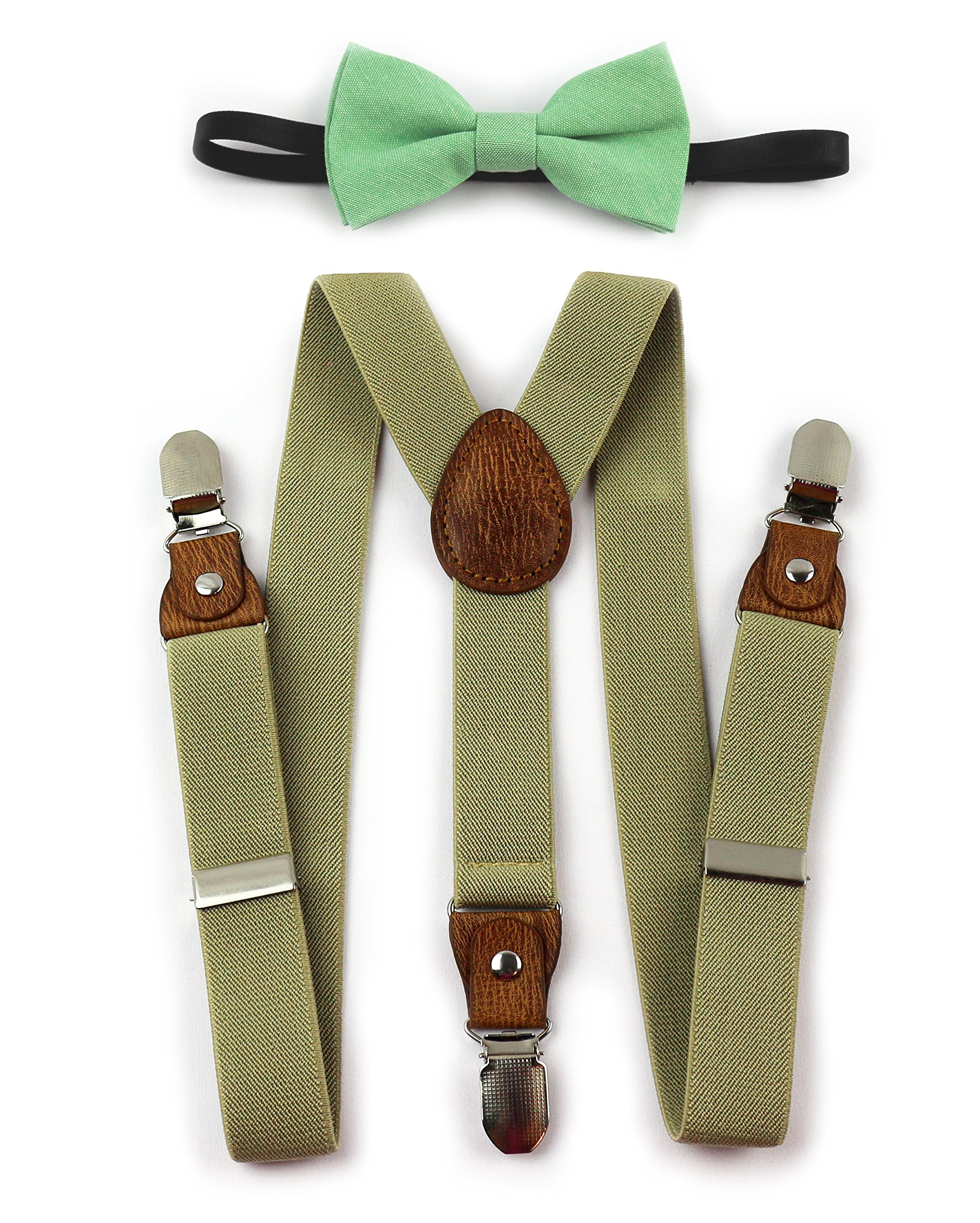 Kids Suspenders Bow Tie (Tan Khaki Suspenders and Mint Green Bow)