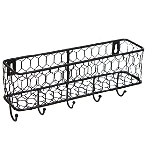 Modern Black Metal Wall Mounted Key and Mail Sorter Storage Rack w/Chicken Wire Mesh Basket