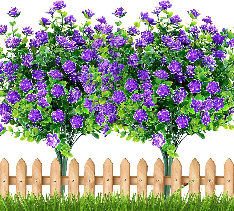 TURNMEON Artificial Flowers Outdoor, 8 Bundles Faux Flowers Plants Outdoor UV Resistant Greenery Shrubs Plants Artificial Fake Flowers Indoor Outside Hanging Planter Home Garden Decor(Purple)