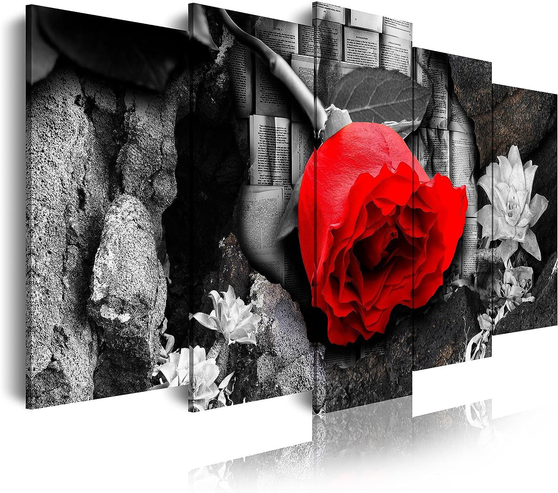 DekoArte Cuadro Moderno Diseño Naturaleza Flor, Tela, BCO/Negro/Rojo, 5 Piezas (200x100cm)