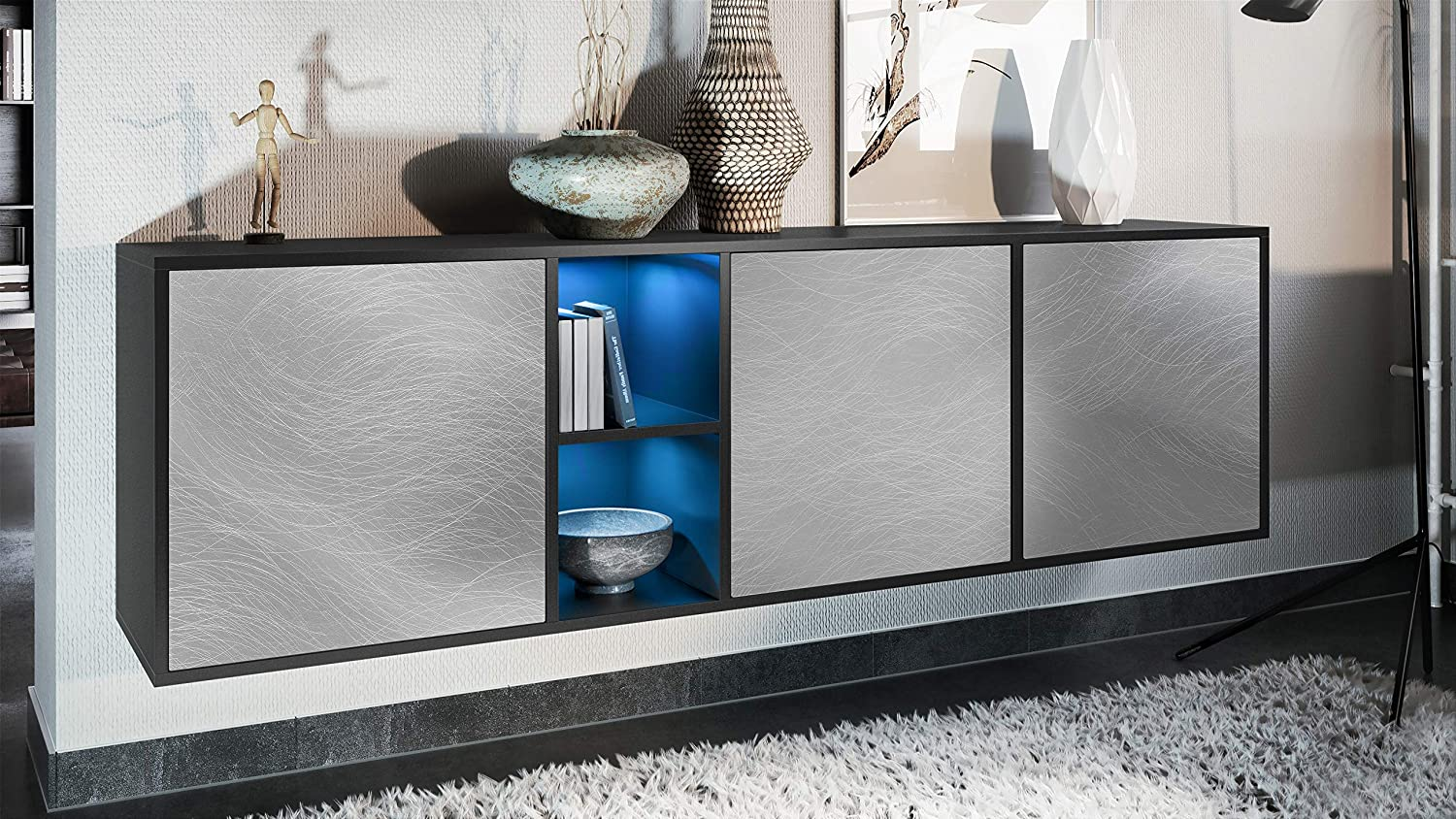 Vladon Sideboard Cabinet Cupboard Cuba Carcass in Black matt//Front in Avola-Anthracite with LED lighting