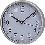 Unity Radcliffe Horloge murale silencieuse Blanc, Plastique Verre, Silver, 20 cm l x 20 cm w