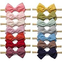 14 Pack Baby Girls Nylon Headbands Linen Hair Bows Hairbands Handmade Hair Accessories for Newborn Infant Toddlers Kids