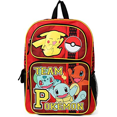"Team Pokemon Red 16"" Inch Pikachu Charmander and Squirtle Backpack School Bag: Toys & Games [5Bkhe0501635]"