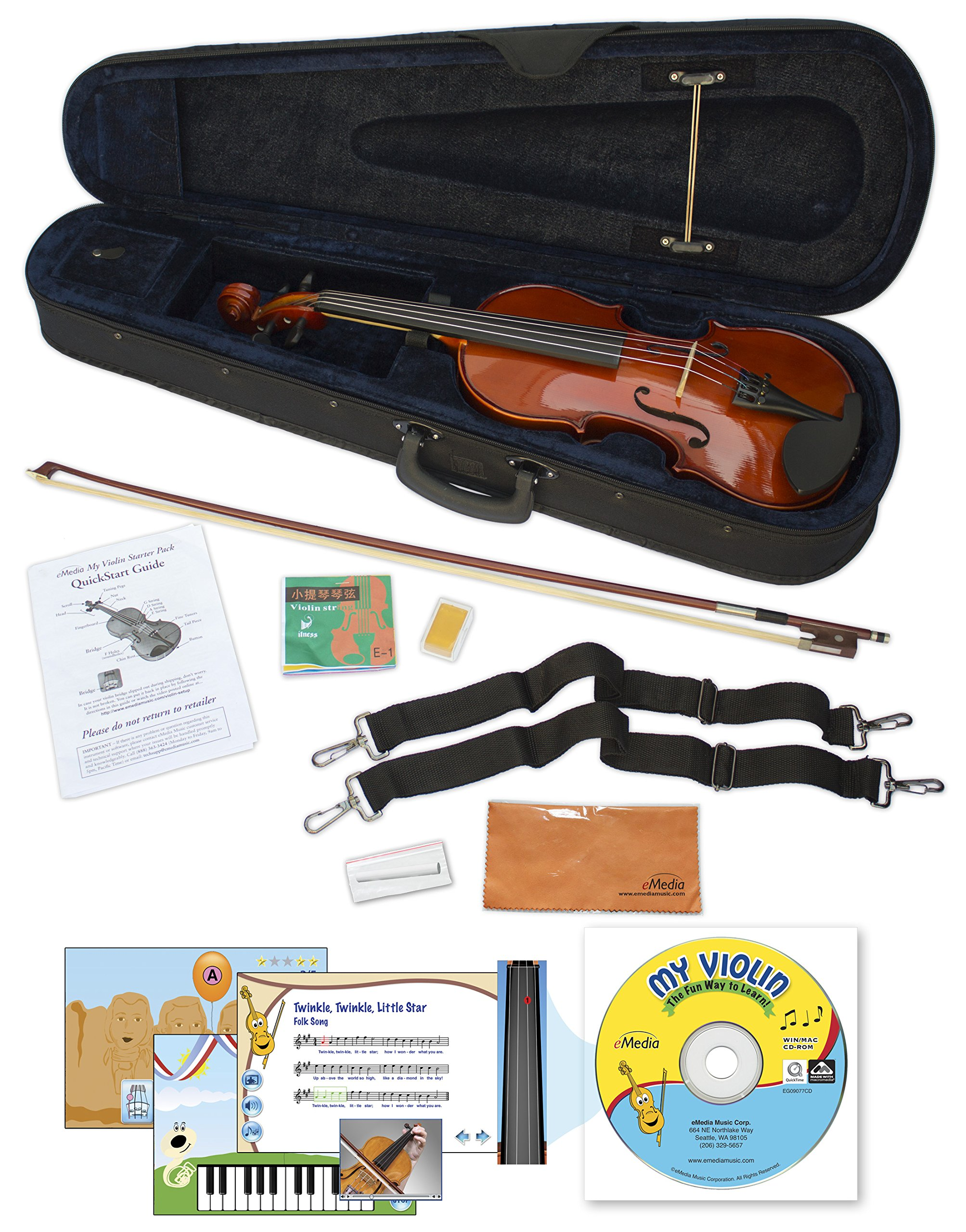eMedia My Violin Starter Pack for Kids - 1/8 Size Violin (5 Sizes Available) - Includes Violin Lesson Software, Case, Bow, Chalk, Rosin, Straps, Polishing Cloth, and Strings (EV05161)