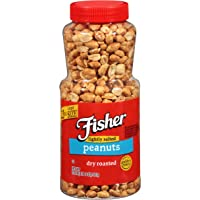 FISHER Snack Lightly Salted Dry Roasted Peanuts, 22 oz (Pack of 12), Naturally Gluten Free