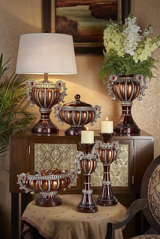 OK Lighting AZOK4296T Delicata Table Lamps Brown and Bronze