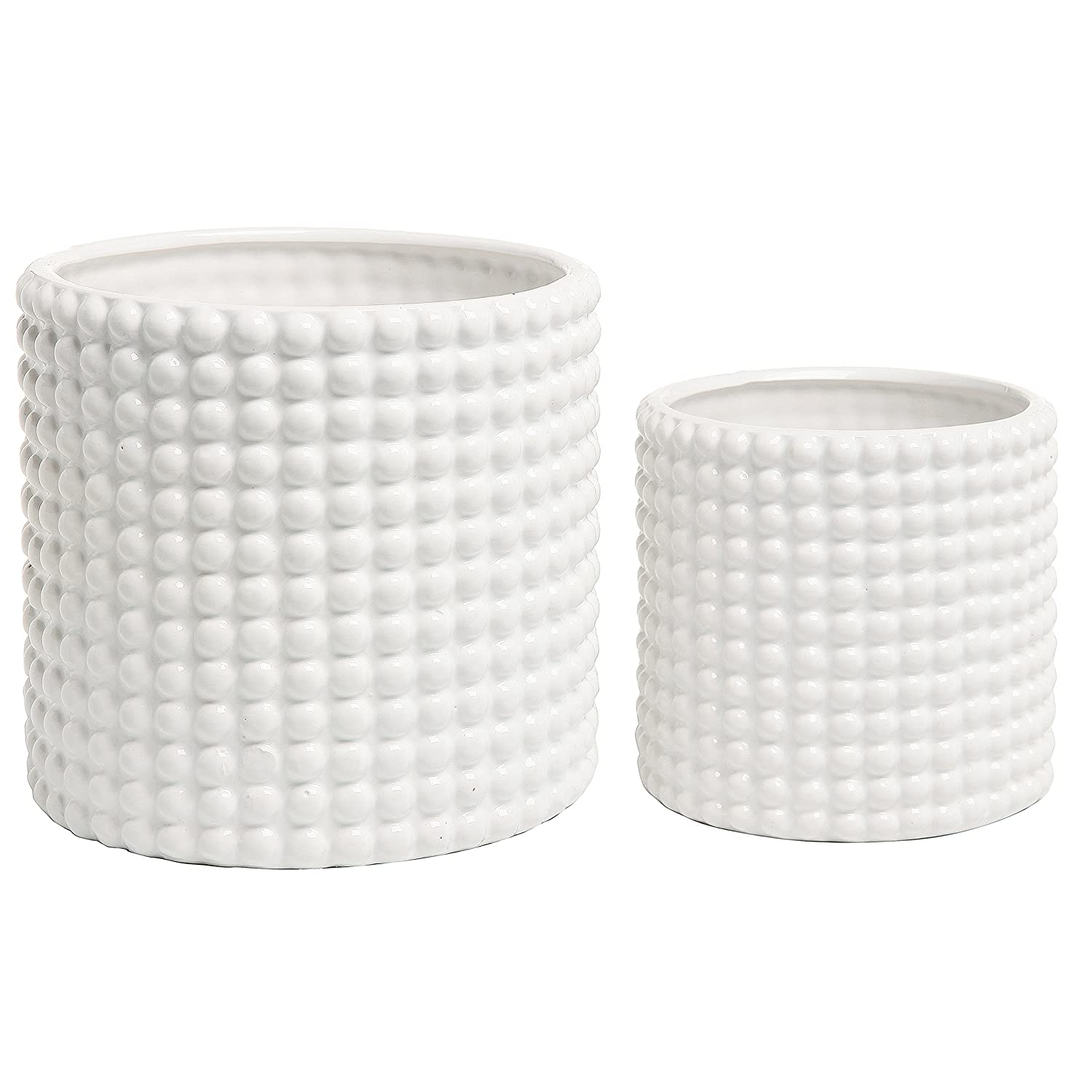 MyGift Set of 2 White Ceramic Vintage-Style Hobnail Textured Flower Planter Pots Storage Jars