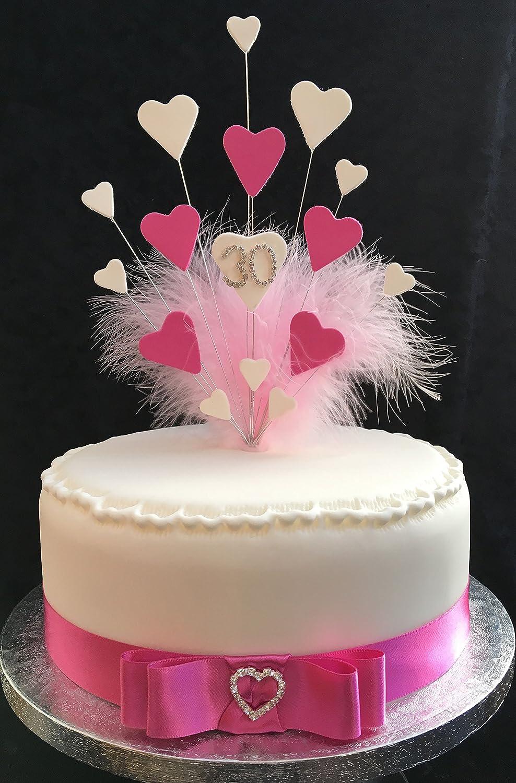 Groovy 30Th Birthday Wedding Anniversary Cake Topper Pink White Hearts Personalised Birthday Cards Akebfashionlily Jamesorg