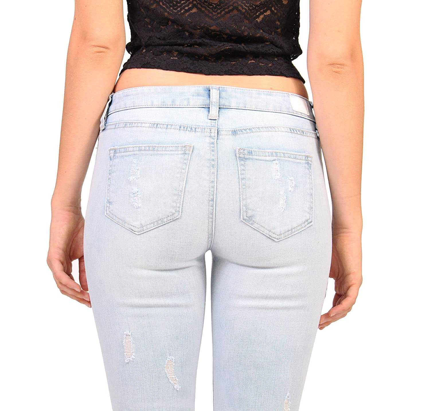 eb09ca7cdce Amazon.com: Celebrity Pink Jeans Women Distressed Ankle Skinny Jeans:  Clothing