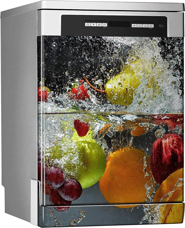 MEGADECOR Vinilo Decorativo para Lavavajillas, Medidas Estandar 67 cm x 76 cm, Salpicar Frutas y Verduras en el Agua