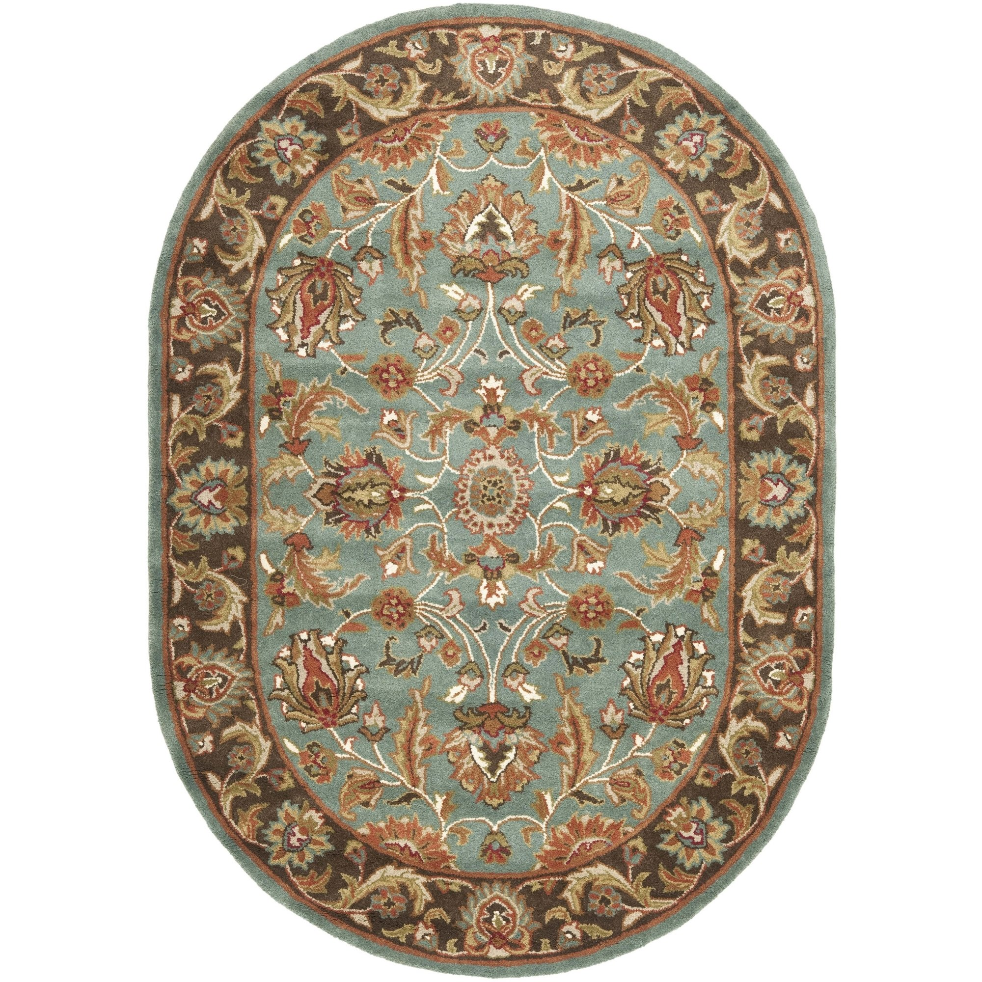 Safavieh Heritage Collection HG812B Handcrafted Traditional Oriental Blue and Brown Wool Oval Area Rug (7'6'' x 9'6'' Oval)