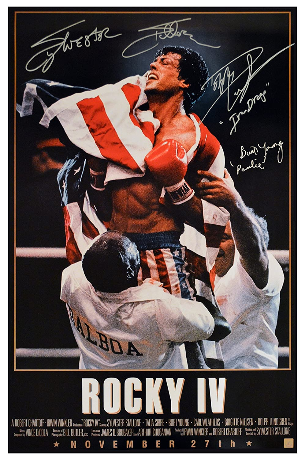 Sylvester Stallone Dolph Lundgren & Burt Young Signed ROCKY ...