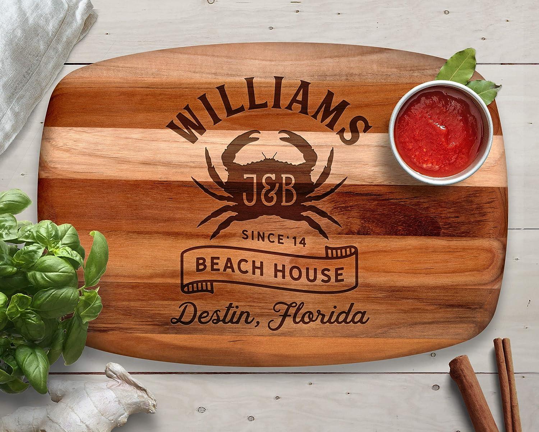 Crab, Cutting Board, Teak, Beach House Decor, Lake House Decorations, Custom Cutting Board, Beach Decor, Personalized Cutting Board, Crab Wall Art, Crab Decor, Kitchen Decor, Personalized Gifts