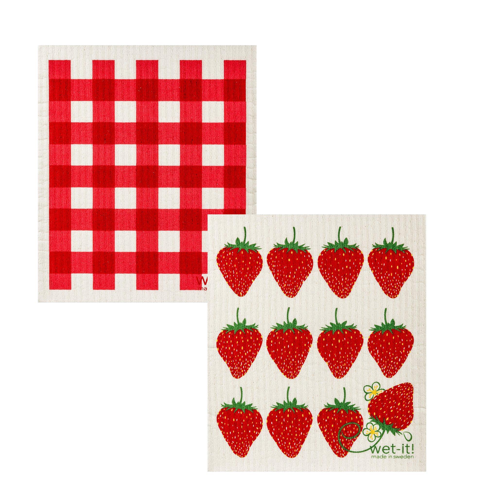 Wet-It Swedish Dishcloth Set of 2 (Strawberries and Plaid)