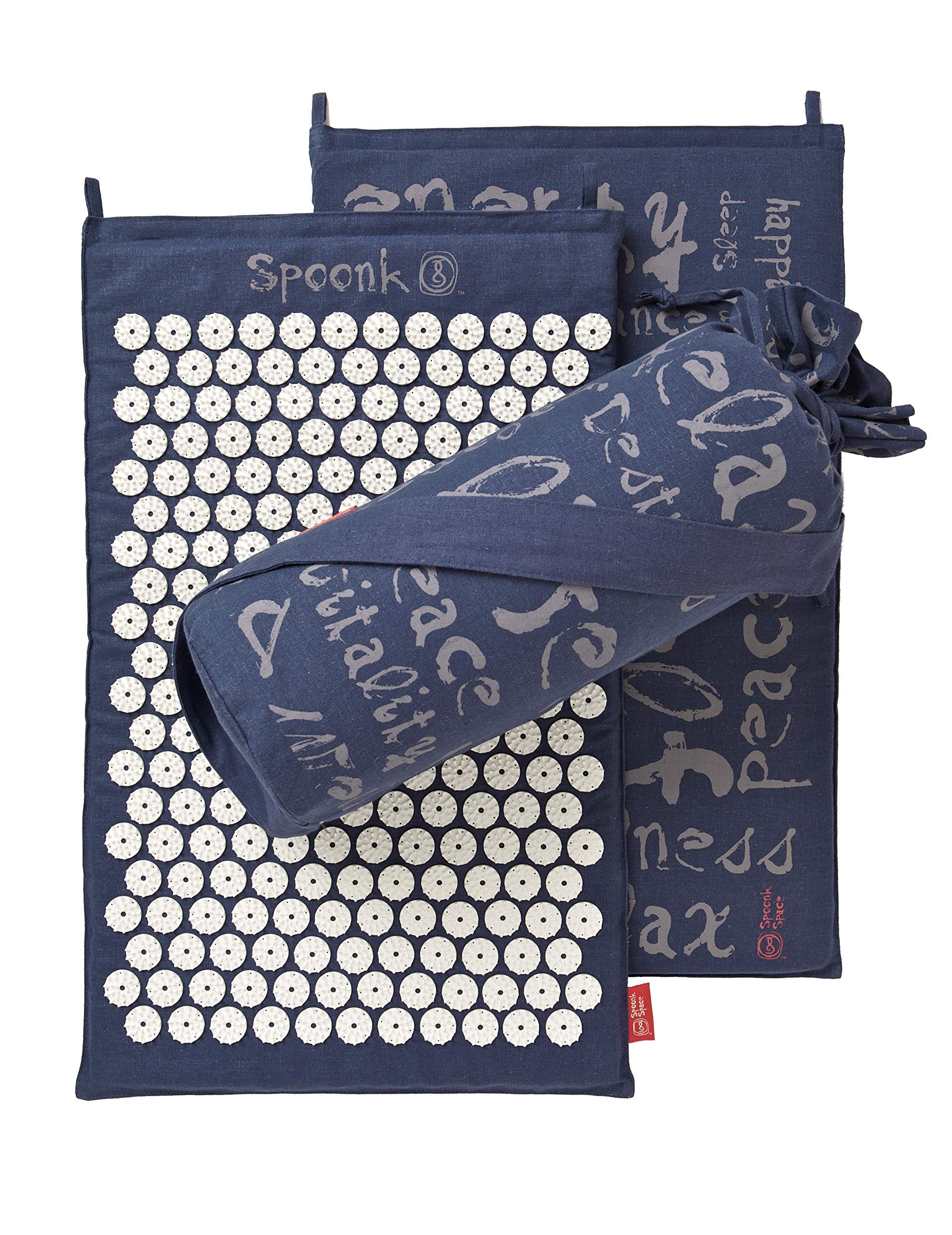 Midnight Blue Hemp Acupressure Massage Mat with Carry-Bag by Spoonk