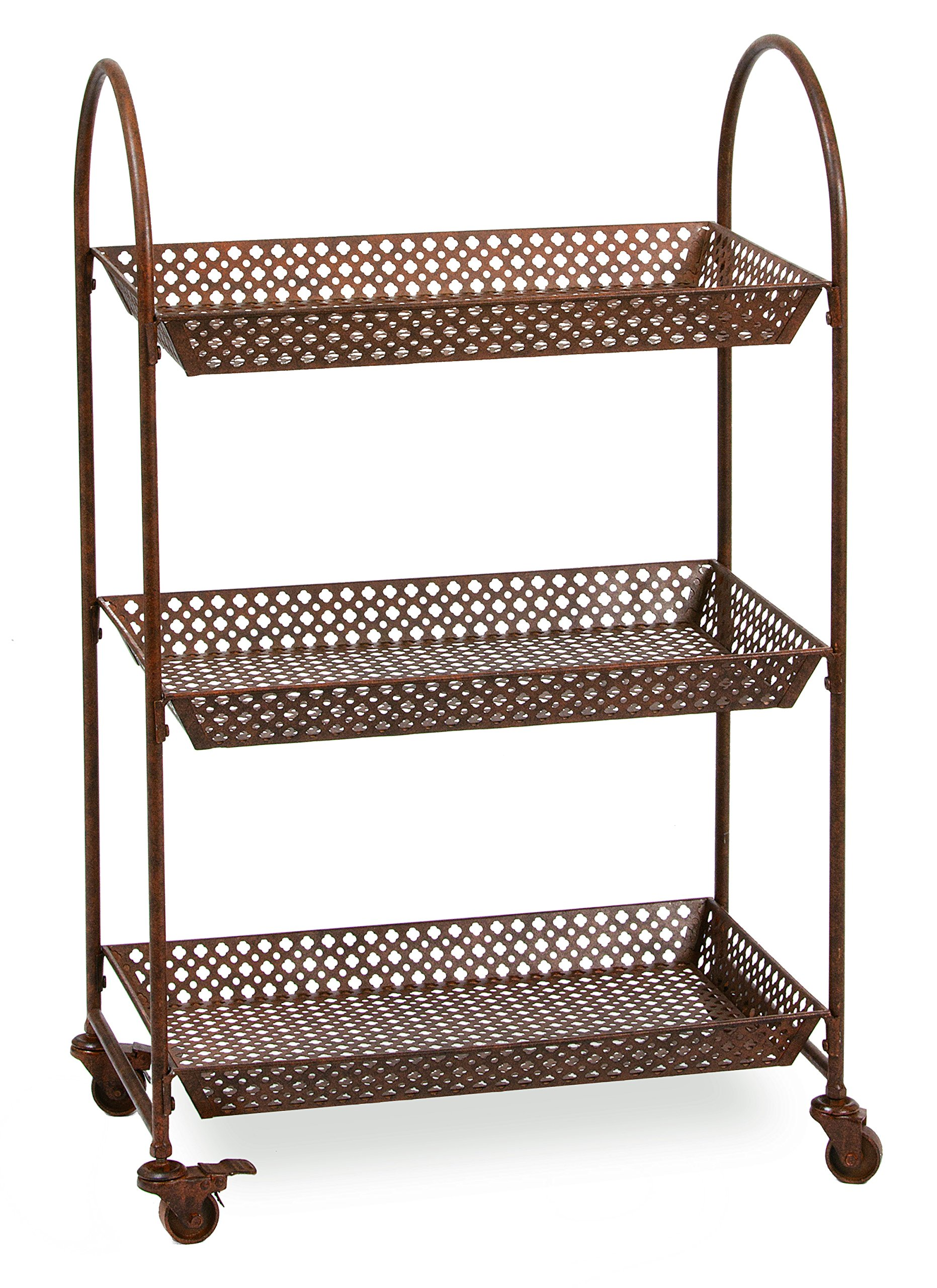 Deer Park Ironworks TC109 Rolling 3 Tier Cart with locking wheels, 24''L x 14''D x 38''H, Natural Patina by Deer Park Ironworks