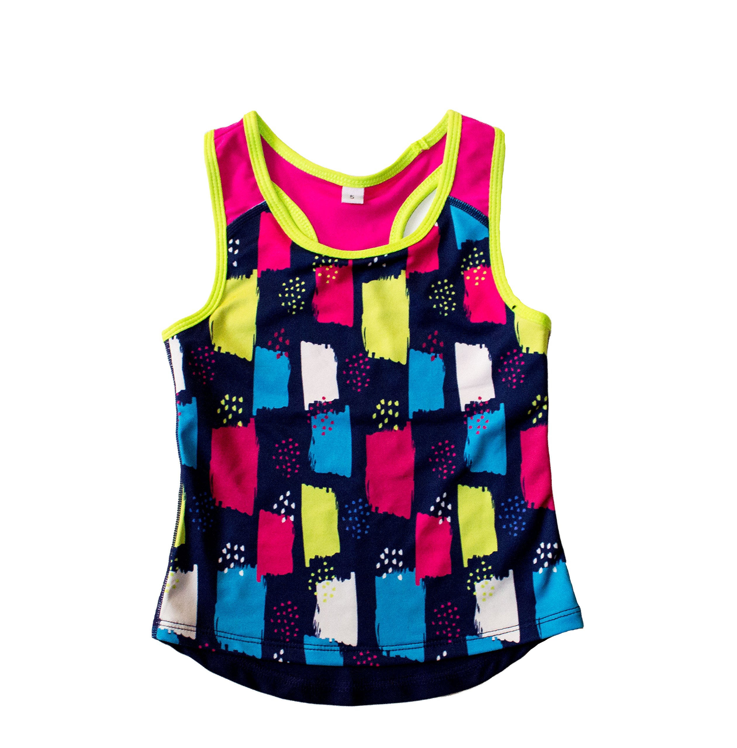 Good Lad Youngsport Girls Activewear Mulicolor Racer Back Tank Tops (14/16, Printed)