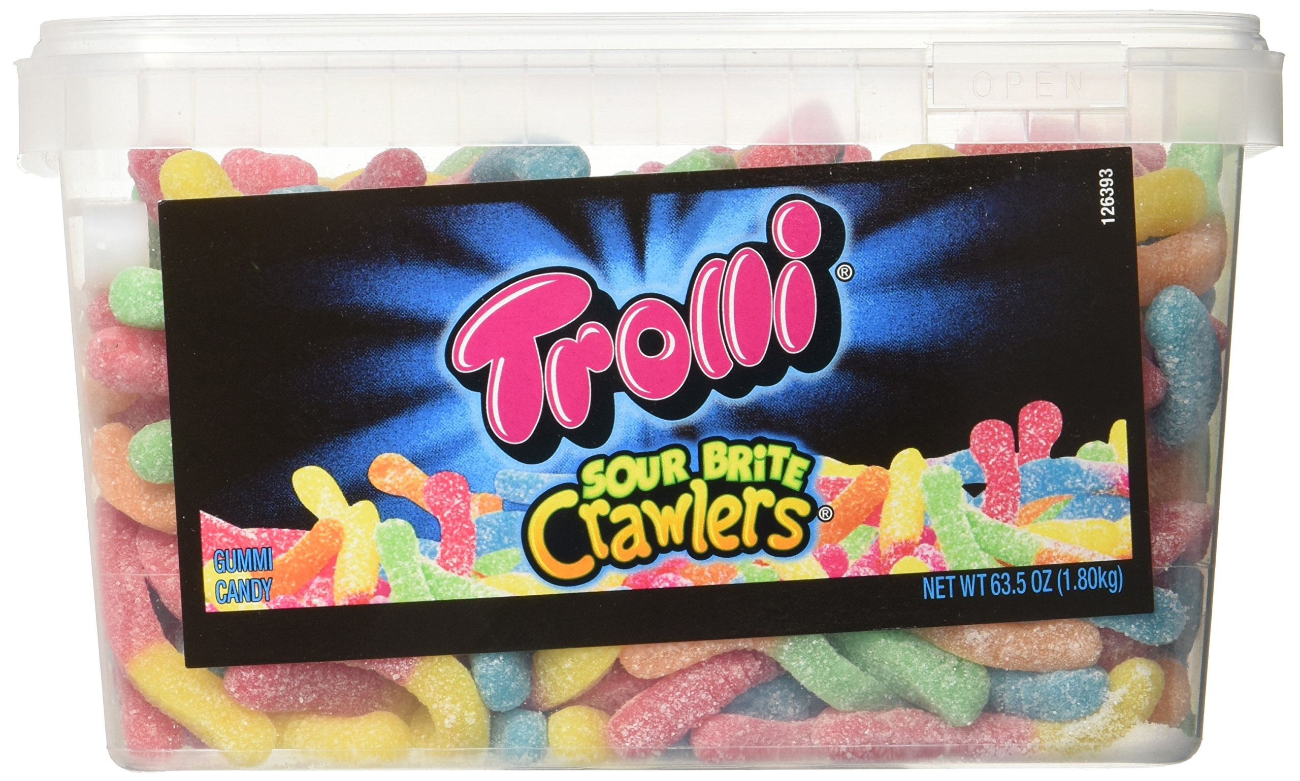 Trolli Sour Brite Crawlers Gummy Worms, 3.96 Pound Tub Sour Gummy Worms