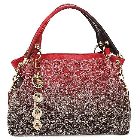 Bolsos Mujer-Greeniris Bolsos Mujer PU Piel-Bolsos Mujer Desigual-Bolso hueco-Bolso tallado-Bolso gradiente-bolso rojo