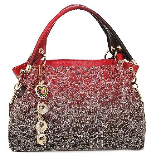 8b215ef3935 Bolsos Mujer-Greeniris Bolsos Mujer PU Piel-Bolsos Mujer Desigual-Bolso  hueco-Bolso tallado-Bolso gradiente-bolso rojo  Amazon.es  Zapatos y  complementos