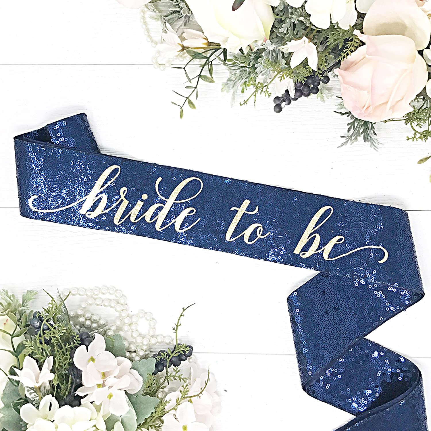 Navy Sequin Bachelorette Sash - Navy Bridal Sash - Navy Sequin