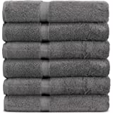 Towel Bazaar 6-Pack 100% Turkish Cotton Wash Cloths, Multi-purpose, Lightweight, Durable, Machine Washable Sport and Workout Face Towels, Dobby Border (13x13 Inch, Gray)