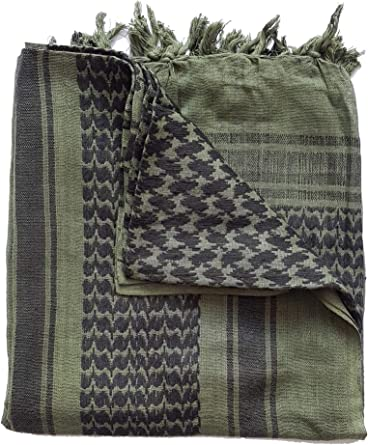 Arab Cotton scarf in Army Military Colours Green /& Black with Tassels Shemagh
