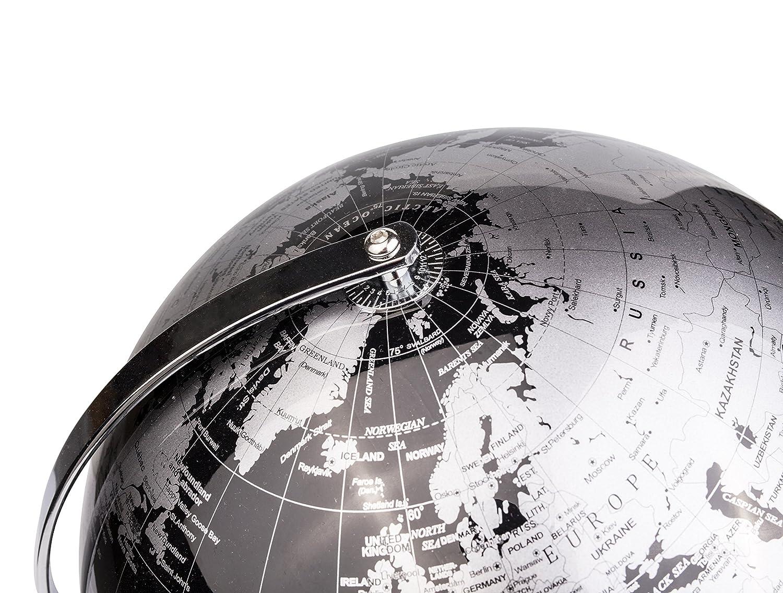 Negro Met/álico Con una base de metal Decoraci/ón de escritorio educativa//geogr/áfica//moderna en Ingl/és Di/ámetro 25cm Exerz 25CM Globo Terr/áqueo