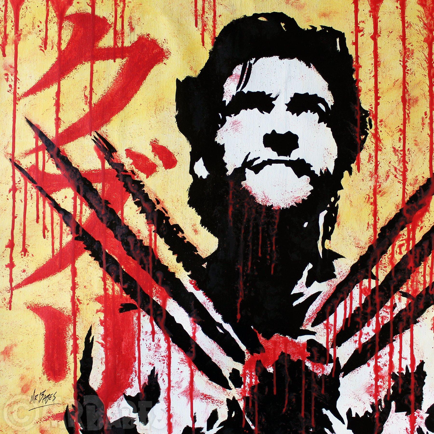 MR.BABES - ''Logan/X-Men: The Wolverine (Hugh Jackman)'' - Original Pop Art Painting - Comic Book Movie Portrait