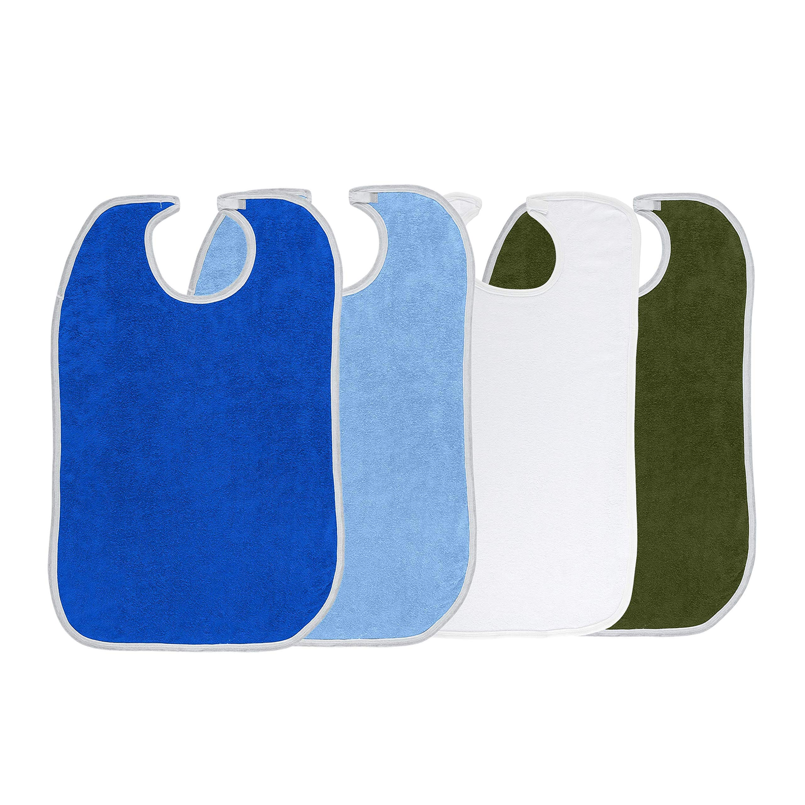 Terry Adult Reusable Bibs with Velcro Closure, 18'' x 30'', Double Ply Knit, Extra Absorbent and Washable, Multicolor, Pack of 4