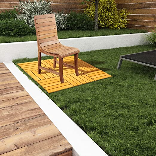 SmashingDealsDirect Paquete de 9 baldosas de Madera para Piso de terraza, balcón, terraza, baldosas de terraza, baldosas de terraza, baldosas de Piso: Amazon.es: Jardín