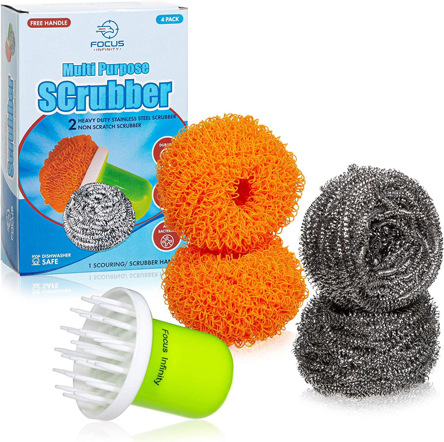 Multi Purpose Scrubber, Stainless Steel Wool Scourer and Non Scratch Dish sponges for Household, Kitchen, Bathroom and Auto (4 Packs)