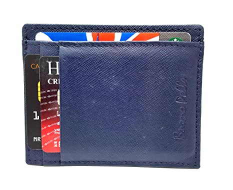bebe26ce1c64 RFID Blocking Slim Front Pocket Designer Leather Wallet for Men Mini Credit Card  Holder Case (Blue): Amazon.co.uk: Luggage